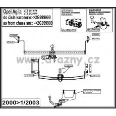 Tažné zařízení Opel Agila r.v. 00 - 01/03